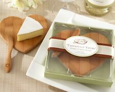 25 Bamboo Heart Shaped Cheese Boards with Spreader Bridal Wedding Favor in Box