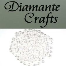 100 x 8mm White Pearl Loose Round Flat Back Rhinestone Craft Embellishment Gems