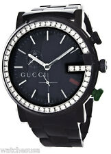 Gucci Women's Black Stainless Steel Crystal Bezel G Watch YA101331