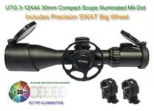 UTG 3-12X44 30mm Compact Scope AO 36-Color Mil-dot Rings w-SWAT Big Wheel