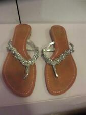 WOMENS BY FIE LONDON SILVER RHINESTONE LEATHER SANDALS SIZE 6