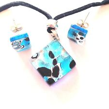 BLUE SILVER AUTHENTIC VENETIAN MURANO GLASS NECKLACE EARRINGS JEWELRY SET 1MG