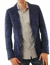 Denham Men's Medic 2 Stage Tailored Jacket Check Blazer Navy Size M