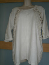 H&M womens cream 3/4 length sleeves  Fringe top size M