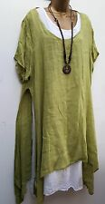 New Lime Italian Lagenlook 3 pc tunic dress top & necklace 12 14 16 18 20 uk