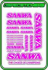 SANWA RC RADIO CONTROL STICKERS MT4 M12 SERVO RX TX CAR BUGGY RACE PINK WHITE