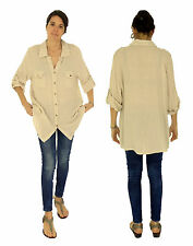 HW800BG Damen Hemd-Bluse Leinen Tunika Vintage Turn Up Arm Gr. 42/44 beige
