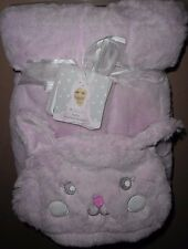 "IMAGINE BABY PINK SUPER SOFT MINKY BUNNY RABBIT HOODED BLANKET NEW! 30"" X 40"""