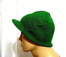 Hurley surf skate ICONIC LOGO Reversible green visor beanie hat one size NEW