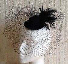 black veiling feather mini top hat fascinator millinery wedding ascot party