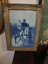 Large Framed Unknown Age Delft Tile After Otto Eerelman Man & Woman in Carriage