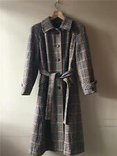 Vintage 1940s/60s Tweed Check Wool Belted Trench Coat UK14 16 M/ M- L