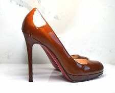 Christian Louboutin brown patent calf leather rounded toe pumps EU 38.5 / UK 5.5