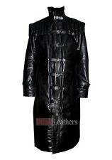 Men's Van Helsing Hugh Jackman Black Faux Leather Trench Coat Worldwide Shipping