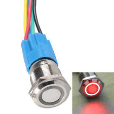 16mm 12V Car Red LED Light Angel Eye Metal Push Button Switch Socket Sales