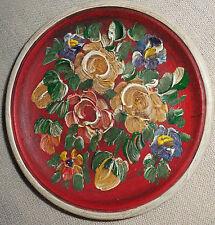 handbemalter kleiner Holzteller, Durchmesser ca.13 cm, Blumendekors, z.Aufhängen