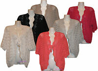 Ladies Women's Knitted Shrugs Bolero Cardigans Jumpers Tops Plus Sizes 14 to 32