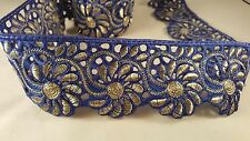 7cm- 1 meter Stunning blue and gold floral cut work lace and trim 4 crafting