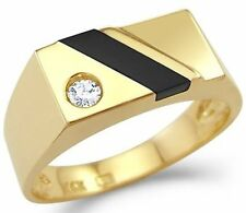 New Solid 14k Yellow Gold Mens Onyx man made Diamond Ring High Polish