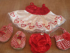 Red White BUILD A BEAR Frilly Dress Doll Clothes Hearts Shoes Purse Panties Lot