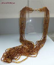 JoliKo Halskette Glasperlen Edle Lange Kette Kaskade Gold pl Honig Farbe Braun