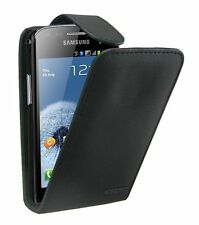Black Leather Vertical flip case cover for Samsung Galaxy S Duos GT-S7562