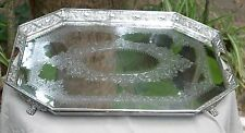 Antique silver plated tray, ornate, hand chased, repousse circa 1866