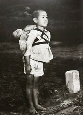 Historic 8x10 photo Japanese boy brings dead brother to cremation 1945