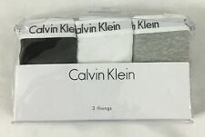 Calvin Klein WOMEN'S 3-Pair Set Thong Underwear Panties Black White Grey Size S