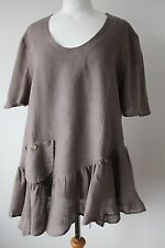 SARAH SANTOS LADIES FAB LAGENLOOK QUIRKY TOP TUNIC 100% LINEN SIZE L