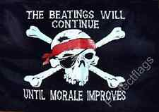 THE BEATINGS WILL CONTINUE FLAG - SKULL AND PIRATE FLAGS - Size 5x3 Feet
