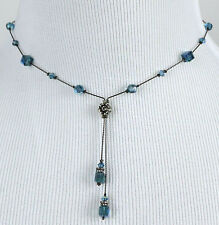 DABBY REID NEW Teal AB Crystal Double Dangle Y Necklace HDN8192B Y30