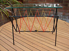 Magazine Rack Table Glass Atomic Mid Century Kitch Space Age 1960s Global Ship