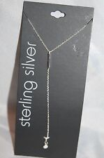 """New Women's Fine Jewelry Simple Sterling Silver Necklace with 2"""" Drop 16"""" Chain"""