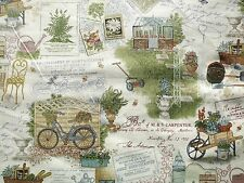 Antique Garden Scenic fabric fq 50 x 56 cm Makower MK1738 100% Cotton