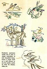 Vintage Embroidery Transfer repo 7235 Deer Geese Hummingbird Fish for Towels