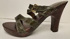 "Gabriella Rocha ""Mariel"" Green Leather Sandals Classic w/buckle Sz 8M"