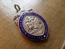 VINTAGE STERLING SILVER POCKET WATCH CHAIN FOB. SCOTTISH AGRICULTURAL MEDAL