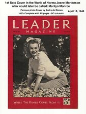 1st MARILYN MONROE SOLO Cover! - LEADER APRIL 1946 - VERY RARE - NORMA JEAN