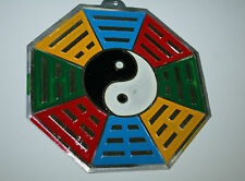OUTDOOR HANGING BAGUA.  STAMPED & PAINTED TIN. FENG SHUI, YING YANG , YIN YAN