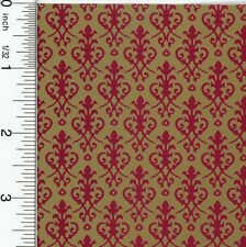 Dollhouse Wallpaper Victorian Red on Gold