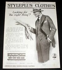 1919 OLD MAGAZINE PRINT AD, STYLEPLUS CLOTHES, LOOKING FOR THE RIGHT THING? ART!