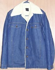 Old Mens Size 42 Tall Sears Roebuck Sherpa Blue Denim Western Coat Jacket 42T