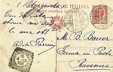 ITALY 1912 10¢ POSTAL STATIONERY CARD (USED), FROM VENEZZIA TO RAVENNA