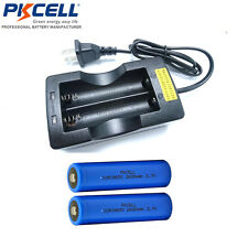 2PCS Li-ion 18650 Rechargeable Battery 2600mAh 3.7V Button Top and 18650 Charger
