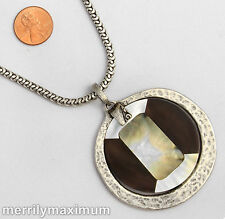 Chico's Signed Silver Tone Chain Necklace Pendant Disk Medalion Real Shell