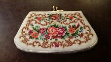 VINTAGE PETIT POINT COIN PURSE WHITE FLORAL DESIGN FREE SHIPPING