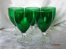 "5 FOREST GREEN Anchor Hocking 4 1/2"" BOOPIE BUBBLE INSPIRATION GLASSES"