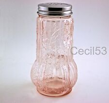 PINK DEPRESSION STYLE GLASS SHAKER ROSE PATTERN - SHIPS FREE