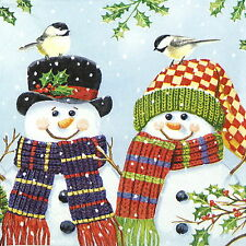4x Single Lunch Party Paper Napkins for Decoupage Decopatch Craft Snowman Couple